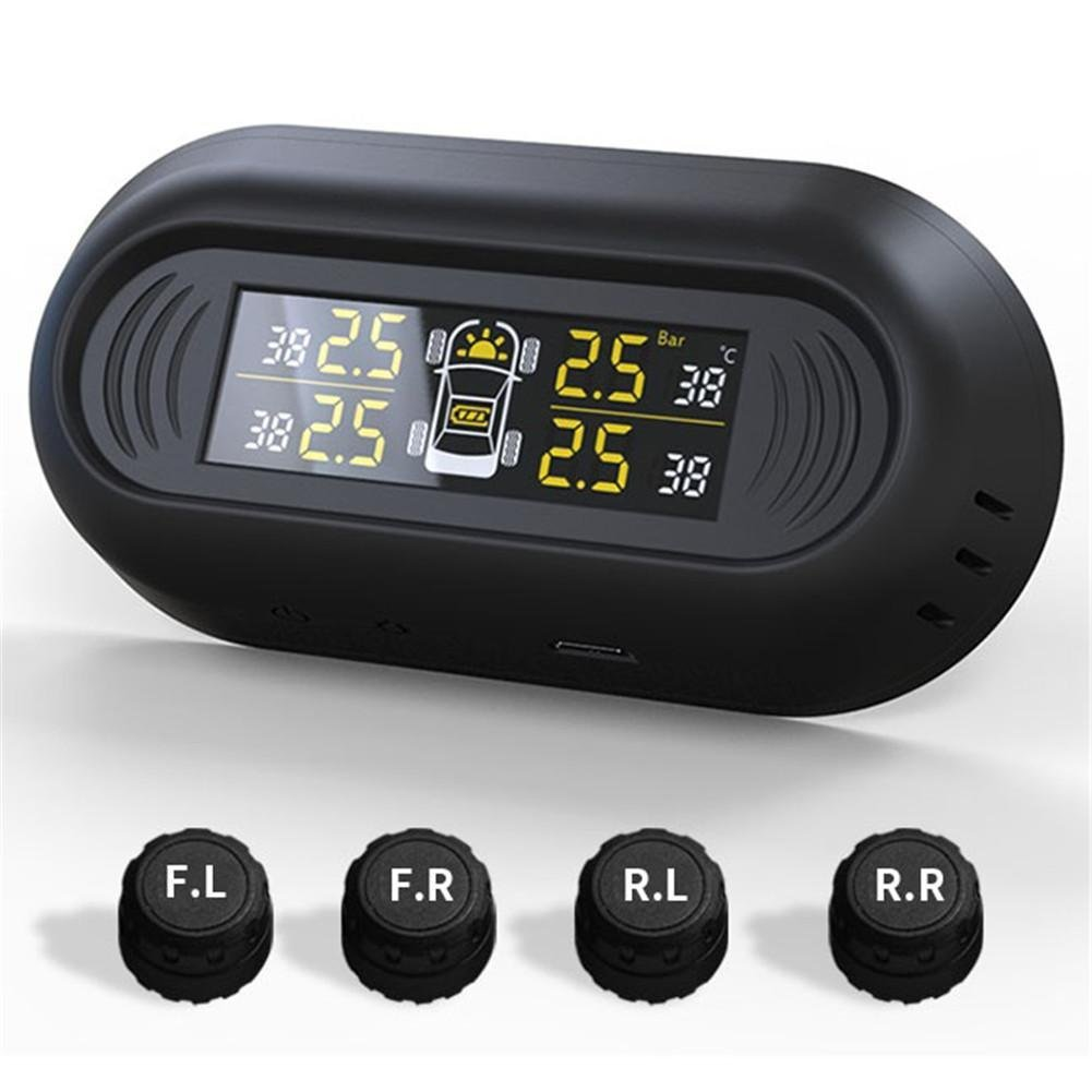 Roful Wireless TPMS, Tire Pressure Monitoring System with 4pcs External Sensors,Temperature and Pressure LCD Display, Real-time Alarm Function