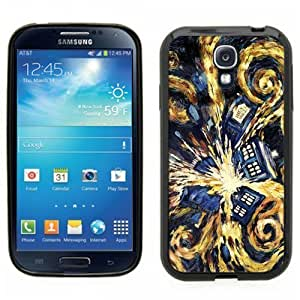 Samsung Galaxy S4 SIIII Black Rubber Silicone Case - Dr Who Tardis Phone Booth Van Gogh Painting Police Blue Call Box