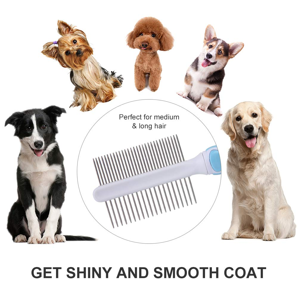 UPSCOOL Double-Sided Pet Comb Pet Hair Comb for Home Grooming Kit Stainless Steel Grooming Comb for Dogs /& Cats Mats and Tangles Removes Knots