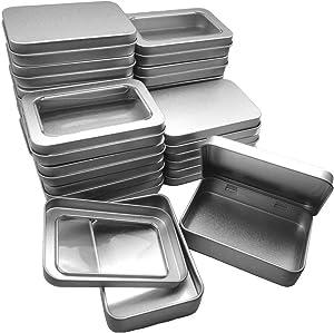 20(10P Siamese + 10P open cover) Pieces of Rectangular Silver Window Tin Metal ContainerBasic Necessities Home Storage Storage Box Mini Box Set (3.46 x 2.36 x 0.7 inches)