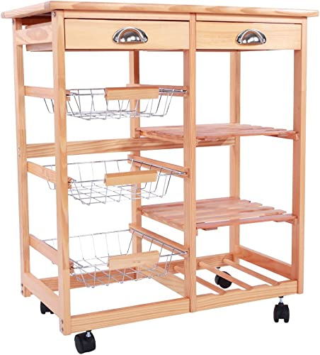 TiTa-Dong Rolling Kitchen Island,Kitchen/Home Storage Serving Cart,Trolley Table Utility Cart Rack on The Wheel