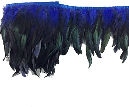 royal blue Sowder Rooster Feather Fringe Trim 12-14 in Width Pack of 1 yard