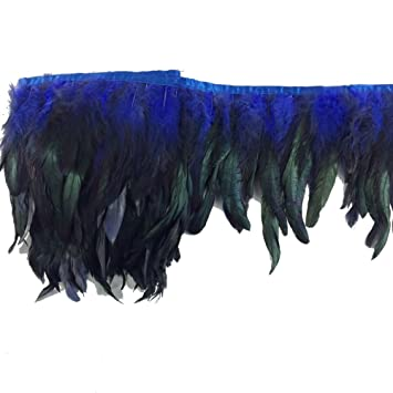 Purple Sowder Rooster Hackle Feather Fringe Trim 10-12inch in Width Pack of 1 Yard