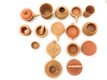 Terracotta Journey Clay Kitchen Set Of 16 Pices For Kids Amazon In