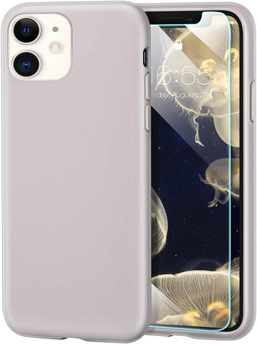 MILPROX iPhone 11 Case with Screen Protector, Liquid Silicone Gel Rubber Shockproof Slim Shell with Soft Microfiber Cloth Lining Cushion Cover for iPhone 11 6.1 inch (2019) (Stone)