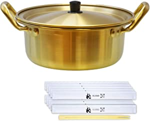 Eutuxia Ramen Noodle Pot Small, Korean Traditional Aluminum Instant Ramyun Hot Pot, Comes with Disposable 10 Chopsticks, Great for Soup, Curry, Pasta, Stew & More (6.3
