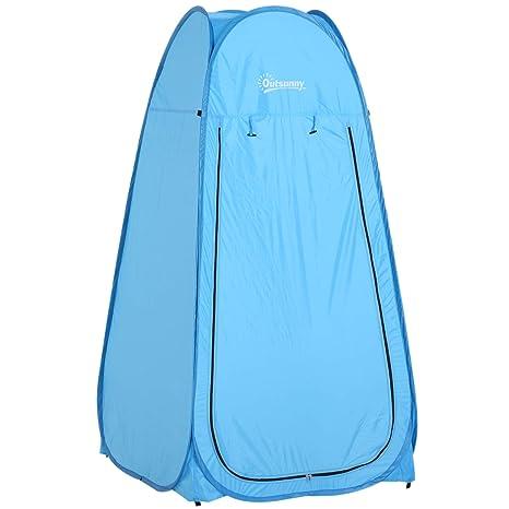 Outsunny Tienda de Campaña 100x100x185cm Instantánea Tipo Carpa Ducha Cambiador WC Impermeable para Camping
