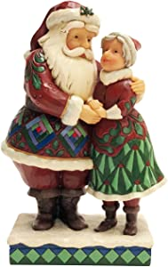 Enesco Jim Shore Heartwood Creek Santa and Mrs. Claus Figurine, 8.1 Inch, Multicolor