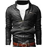 Men Stand Cut Collar Casual Biker Jacket Faux Leather Military Slim Fit Zipped Coat Outerwear