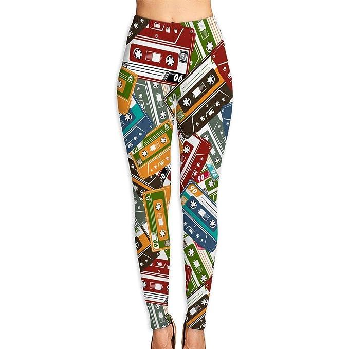 Amazon.com: Cassette Tape Mallas de cintura alta para mujer ...