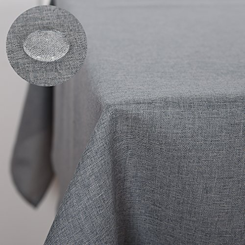 Deconovo Decorative Wrinkle Resistant Spillproof Oblong Linen Look Tablecloth for Party 54x102 Inch Grey