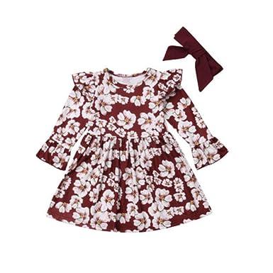 Wang-RX Niños pequeños Bebés Niñas Princesa Floral Vestido ...