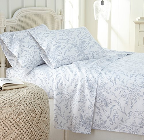 Southshore Fine Linens - Winter Brush Print 4 Piece Sheet Sets, Queen, White Sheets w/Blue Flowers