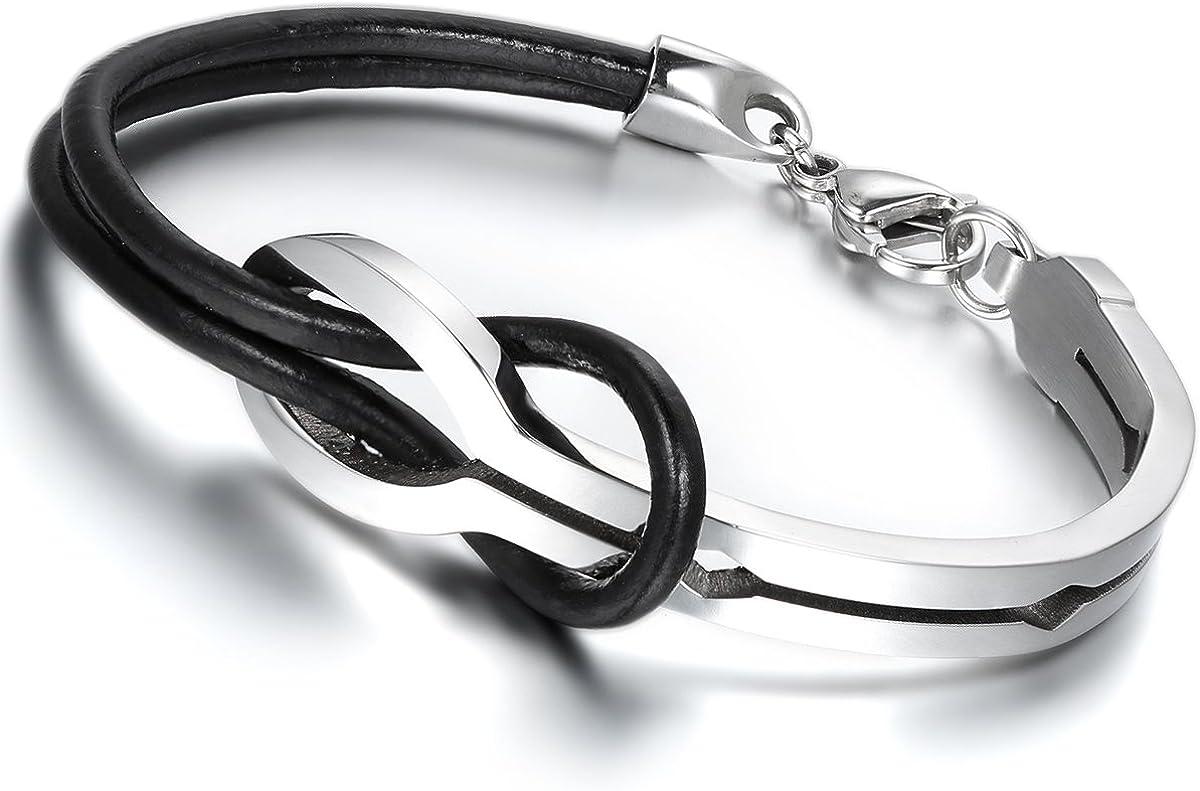 Pulsera unisex, Flongo, de acero inoxidable y cuero, con diseño de signo de infinito, de 20,5 cm