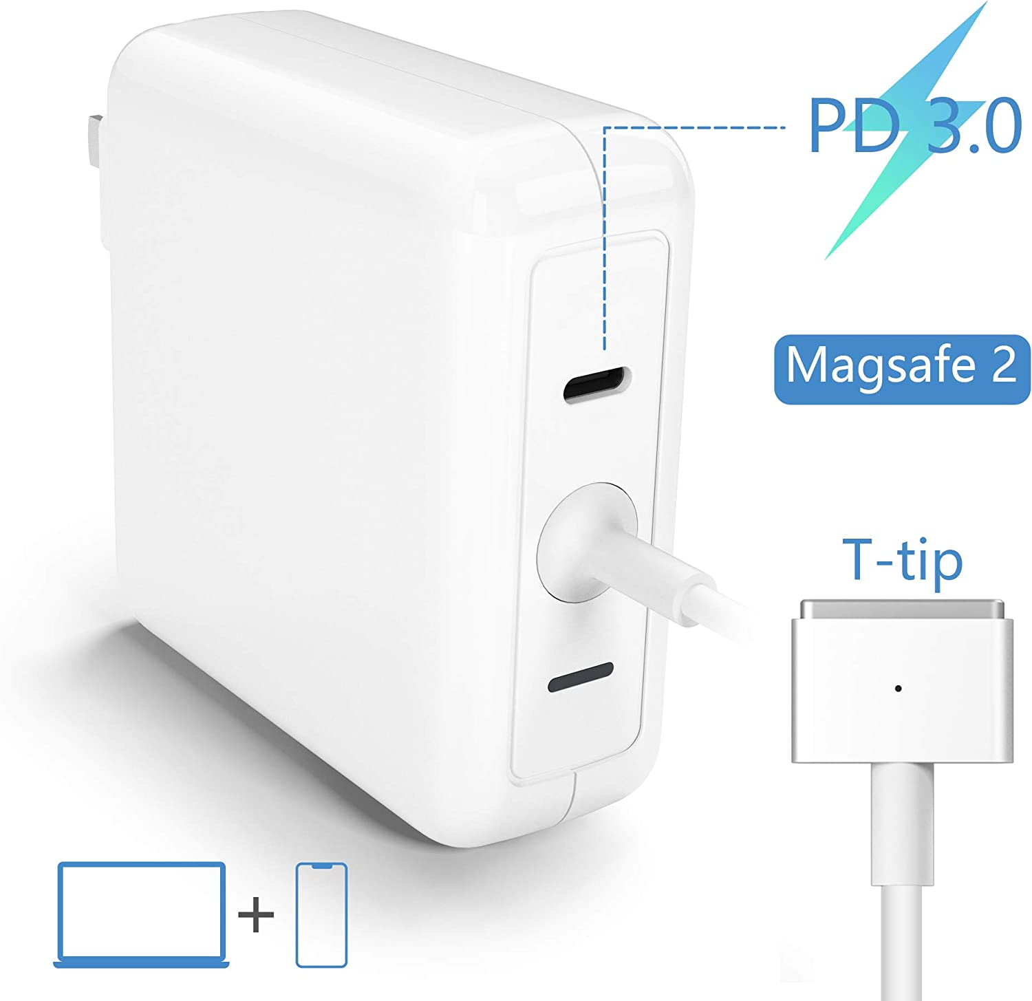 MacBook Air Charger, 45W T-Tip Magsafe 2 Laptop Adapter Compatible with MacBook Air 11-Inch and 13-Inch | USB C 18W PD Charger |Charge Phone,Mac from One Plug Point |Mac Charger Power Adapter