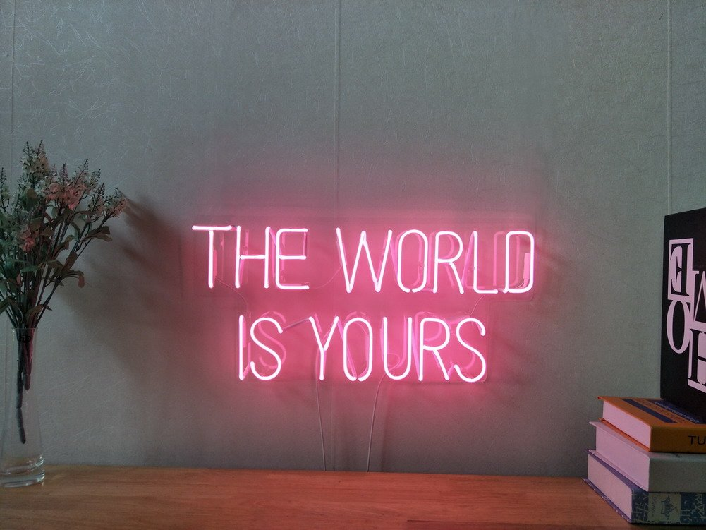 The World Is Yours Real Glass Neon Sign For Bedroom Garage Bar Man Cave Room Home Decor Handmade Artwork Visual Art Dimmable Wall Lighting Includes Dimmer