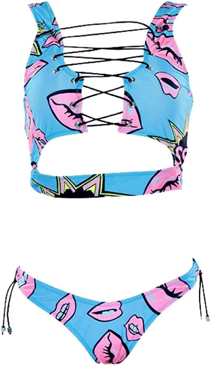 Women Lace Up Bikini Set Push-up Padded Bra Mesh Swimsuit Bathing Suit Swimwear