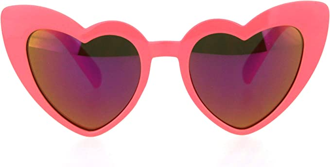 Girls Lolita Child Size Heart Shape Mirrored Cat Eye Plastic Sunglasses