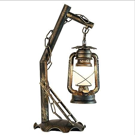 HY Iron Art Vintage Lámpara de Mesa Dormitorio Lámpara de Mesa ...
