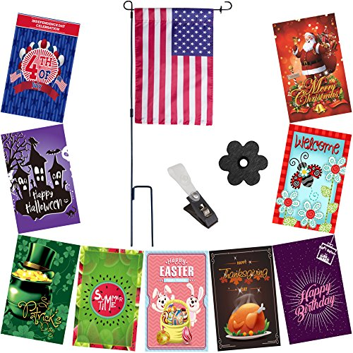 Premium Seasonal Garden Flag Set for Outdoor Decoration | 10 Double-sided Weather Resistance Flags 12 X 18 inch, Metal Flag Pole, and Flag Stoppers | Including USA banner and every (Holiday Outdoor Lawn Decoration)