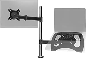 Duronic Desk Mount DM25L1X1 | Single Monitor Stand for 13-27 inch LCD/LED PC/TV Screen and Laptop | Dual Arms | Adjustable Support | VESA 75/100 Bracket | Tilt: -90°/+35° | Swivel: 180° | Rotate: 360°
