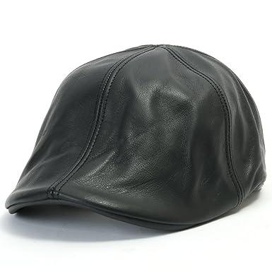 6cb3538ae99bad ililily Genuine Leather Flat Cap Newsboy Hats Gatsby Caps ivy Irish Hats  Driver Hunting Hat (