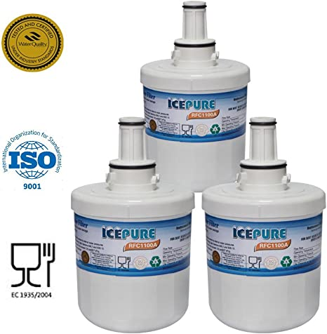 IcePure RWF1100A Fridge Water Filter Compatible with Samsung AquaPure Plus DA29-00003G HAFIN2//EXP Refrigerator Water Filter 3 Pack