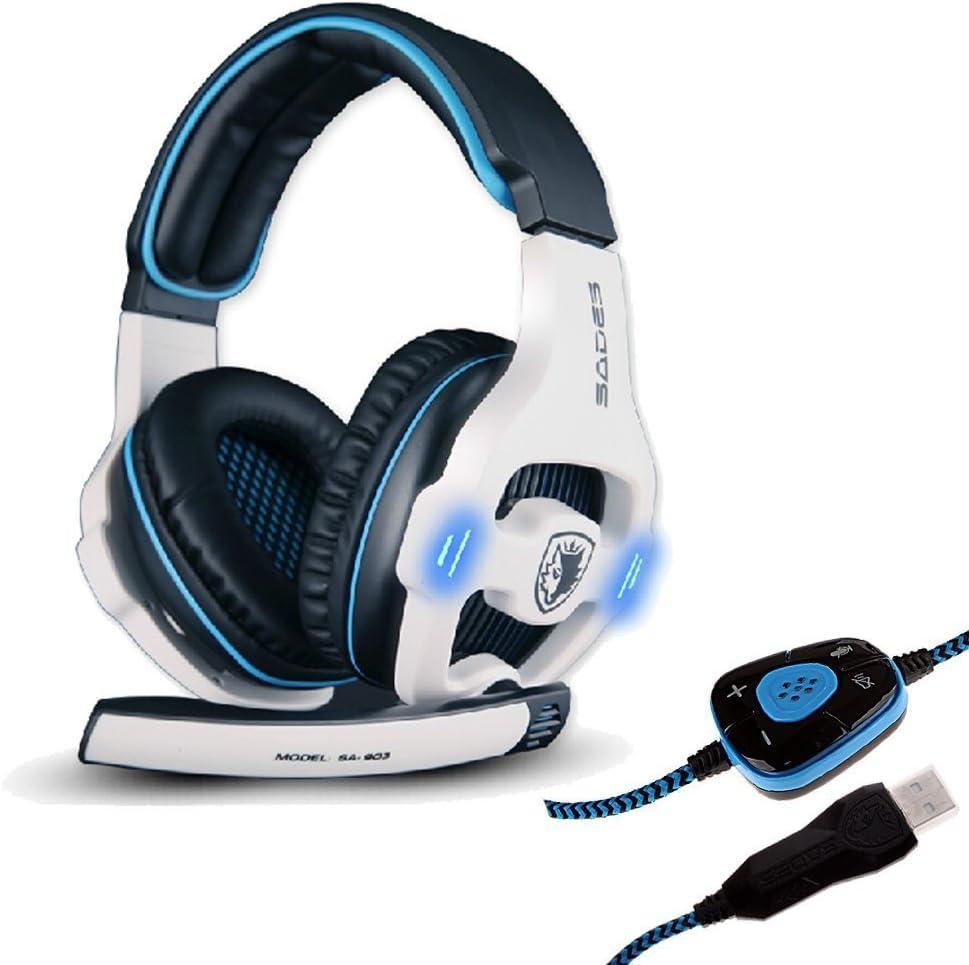 Sades SA-903 Stereo 7.1 Surround Professional USB Gaming Headphone Headset with Mic Headband Black White
