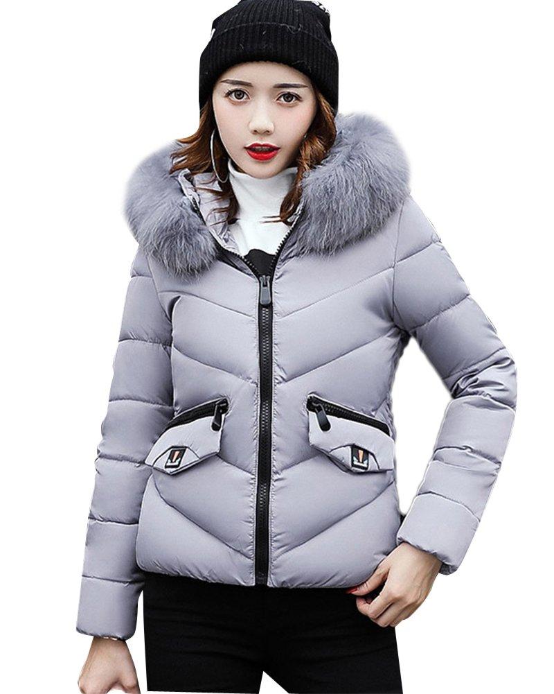 Mujeres Abrigo Gabardina Impermeable Coat Jacket Fit Abrigo Espesar Pelaje Collar Parka Con Capucha ...