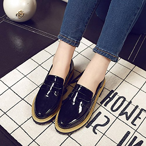 Zapatos Oxford Heel Para Mujer Con Tacón Plano Slip On Patent Comfort Bean Zapatos Negro