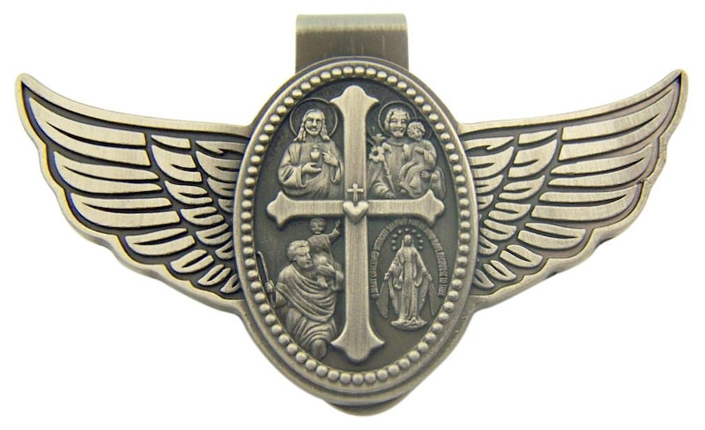 Four Way Scapular Cross Medal with Wings 3 Inch Zinc Alloy Visor Clip CB 4350406881