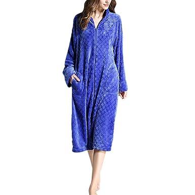 Tallas Grandes para Mujer Calor del Invierno Franela Albornoz Clásico Cremallera Pijama Largo Exquisito Bordado Mujeres: Amazon.es: Ropa y accesorios