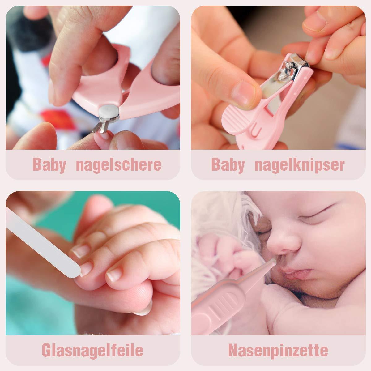 Nagelfeile Pinzette und Nagelknipser f/ür Manik/üre und Pedik/üre Baby Nagelknipser Set pink Funkprofi 4 in 1 Baby Nagelscheren Set mit Nagelschere