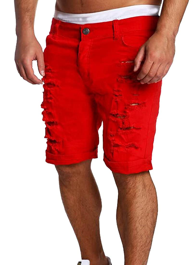 Fubotevic Mens Fashion Ripped Distressed Straight Fit Knee Length Denim Shorts with Hole