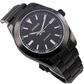 PARNIS lumilous japonés movimiento Miyota automático mecánico de los hombres reloj de pulsera Pantalla Back: Amazon.es: Relojes