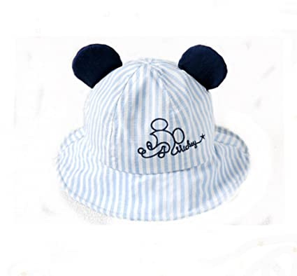 6d0499230f5 Image Unavailable. Image not available for. Color  QCHOMEE Baby Stripe  Basin Cap Breathable Visor Cartoon Sun Protection Ear Bucket Hat