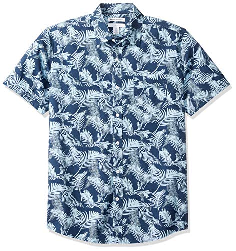 Amazon Essentials Men's Regular-Fit Short-Sleeve Print Shirt, Palm Leaf, X-Large
