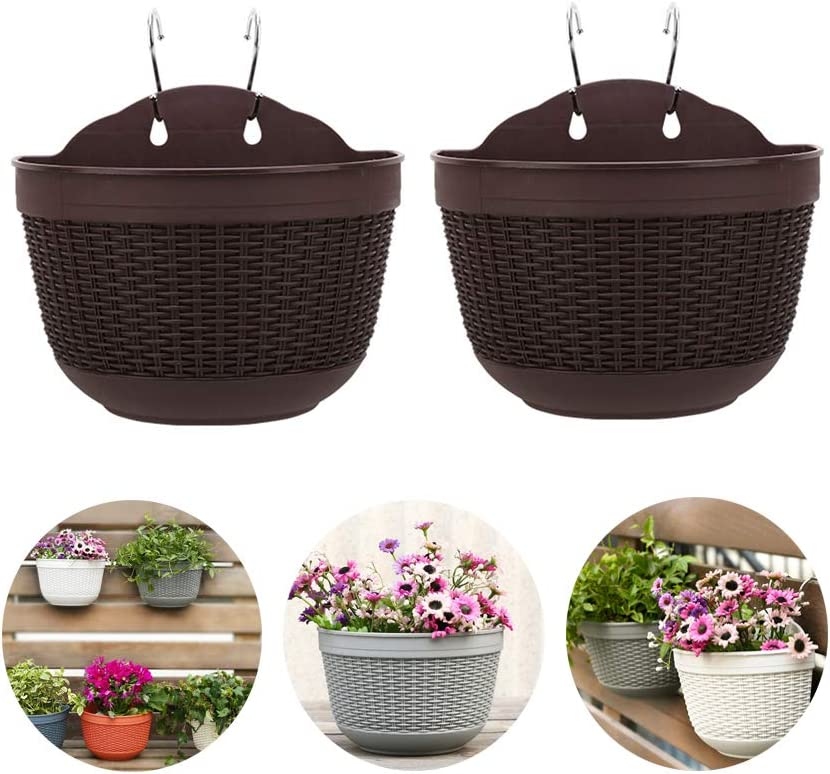 Haozhixin Wall-Mounted Flowers Pot,Wall-Mounted Railing Hanging Planters, Half Round Plant Holders with S Hooks for Indoor/Outdoor Garden Balcony Fence Flowers or Herb Plants