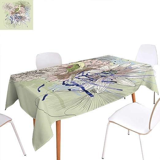Anhuthree - Mantel Lavable, diseño de Cactus Pastel con patrón de ...