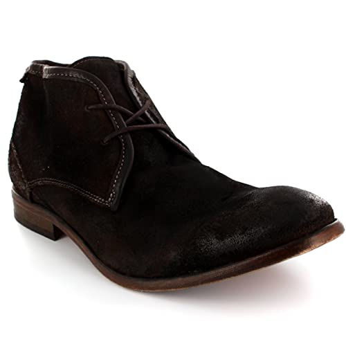61167a27a Amazon.com  H by Hudson Mens Cruise Suede Lace Up Shoes Smart Formal Ankle  Boots - Chocolate - 10  Sports   Outdoors