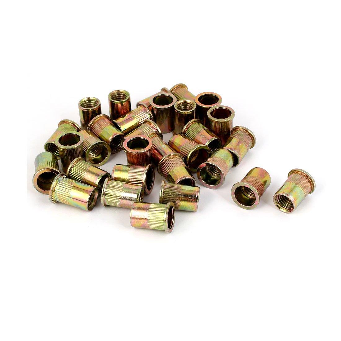 uxcell 12mmx22mm Knurled Rivet Nut Insert Nutsert Bronze Tone 30pcs