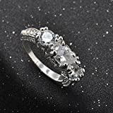 Women Silver Plated White Sapphire Engagement Wedding Ring Brand Jewelry WelcomeShop (6)