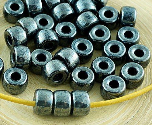 Metallic Hematite Czech Glass (12pcs Metallic Jet Hematite Dark Silver Luster Czech Glass Pony Large Hole Beads Crow Ring Roller 9mm x 6mm)