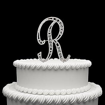 hatcher lee diamante rhinestone crystal monogram letter alphabet cake toppers for wedding birthday party decoration 1pcs