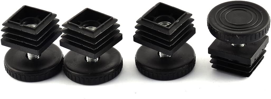 Antrader Home Office Table Desk Adjustable Leveling Foot,Plastic Metal Square Tube Insert Kit, 29mm x 29mm Black, 4 Sets