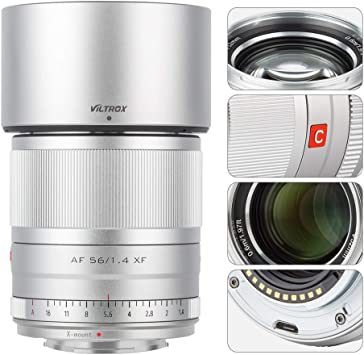 Viltrox 56mm F1.4 Autofocus Lens Compatible for Fuji,Large Aperture APS-C Format Portrait Lens for Fujifilm X-Mount Cameras X-T200/T30/T4/T3/A7/Pro3 with USB Upgrade Port (56mm f1.4 FX)