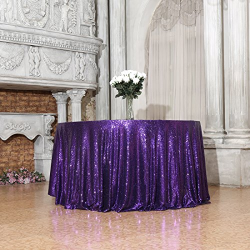 3E Home 72-Inch Round Sequin TableCloth for Party Cake Dessert Table Exhibition Events, Purple