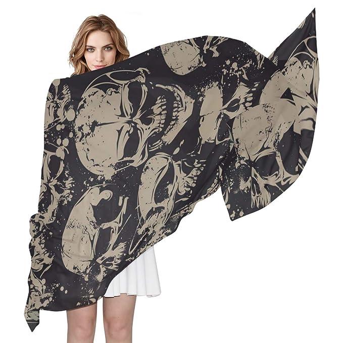 0261a8f74 Women s Polyester Fashion Scarf Grunge Skull 1 shawls Long Scarf ...