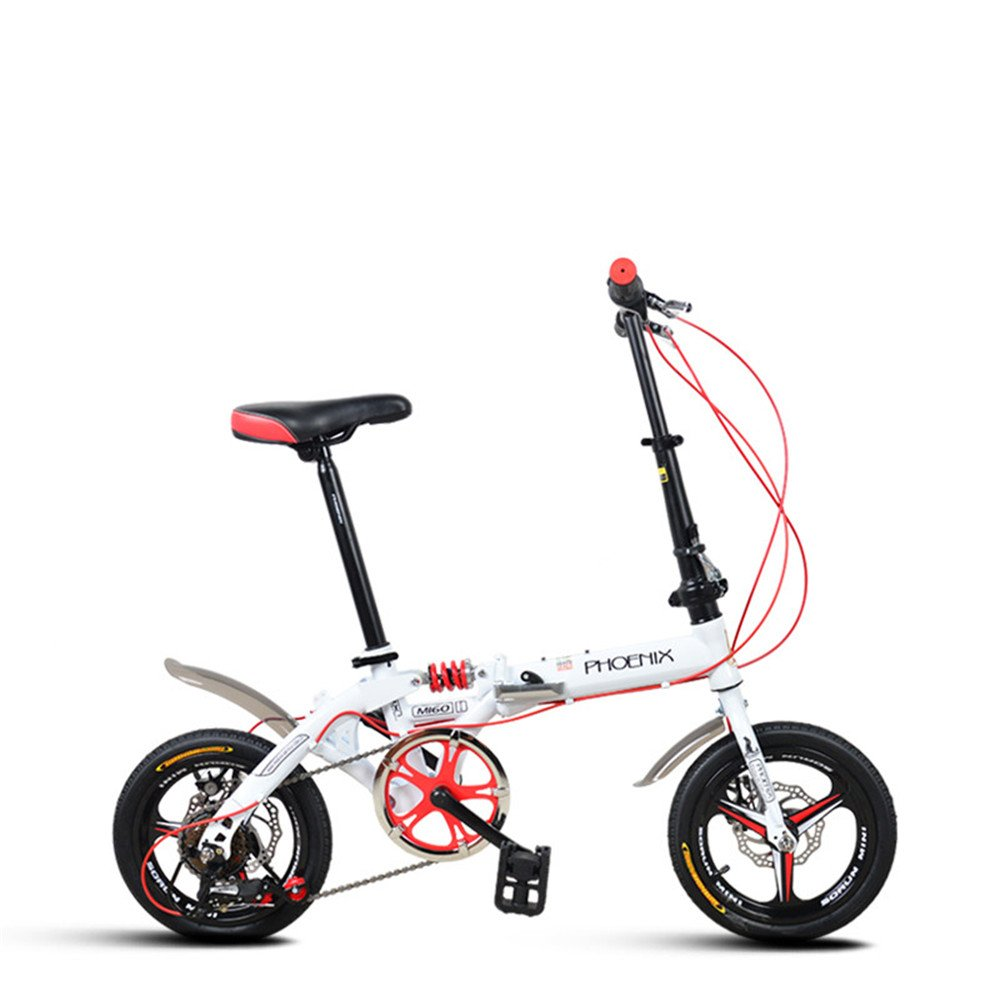 折りたたみ自転車 折り畳み 14インチ 単速 6段変速 通学 アウトドア 通勤や街乗りに最適 小径自転車 YA811 B078M9PTSY 14インチ|ホワイト(変速) ホワイト(変速) 14インチ