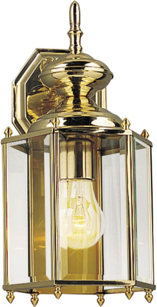 Progress Lighting P5832-10 Traditional One Light Wall Lantern from BrassGUARD Collection Cast Finish, 7-Inch Diameter x 14-1 4-Inch Height, Polished Brass